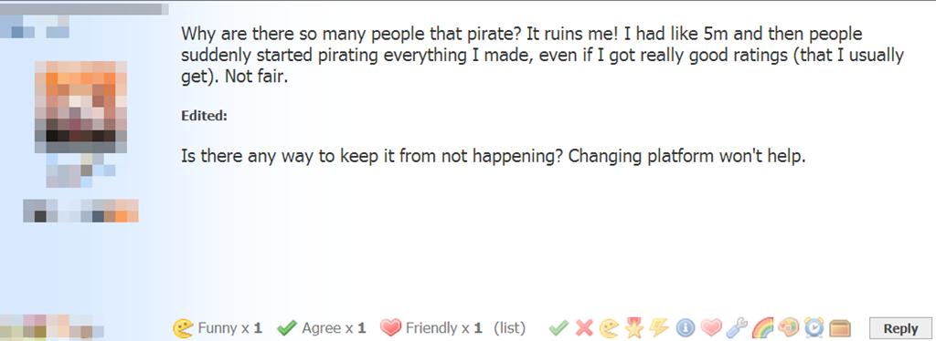 Un joueur de Game Dev Tycoon se plaint du piratage.
