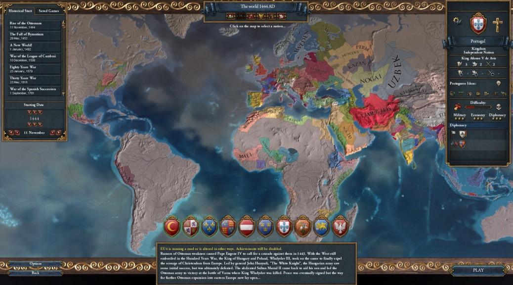 La carte du monde d'Europa Universalis IV en 1444 (source).